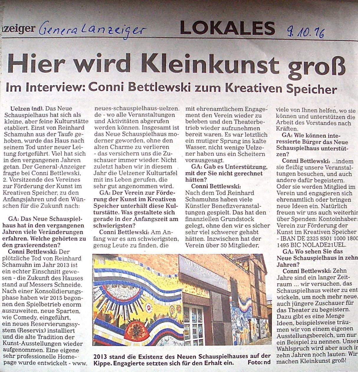 Interview mit dem Uelzener Generalanzeiger vom 09.10.2016